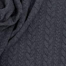 Tissu jersey matelassé à motif torsade gris