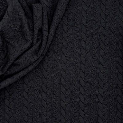 Tissu jersey matelassé à motif torsade noir
