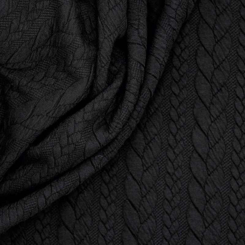 Lichtblauwe sweatshirtstof met gevlochten motief, achterzijde in fleece