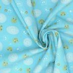 Velvet cotton fabric with rabbits on blue bakground