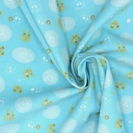 Velvet cotton fabric with rabbits on blue bakground