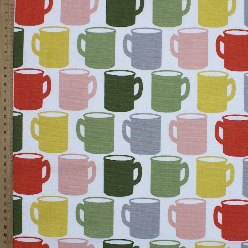 Tissu d'ameublement à motif mug