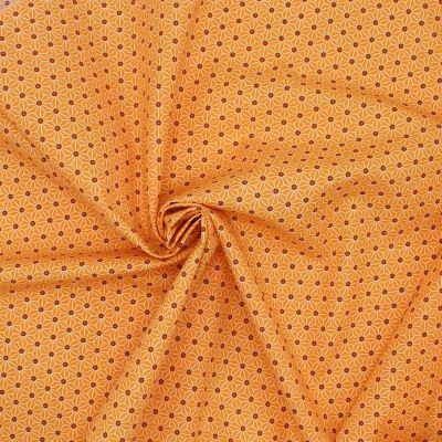 Tissu en coton à motifs origami blanc sur fond orange