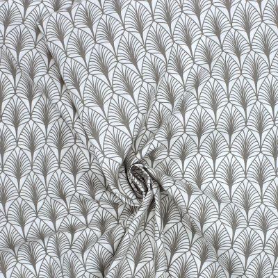 Tissu en coton à motifs gris sur fond blanc