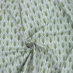 Katoen bedrukt met olijfgroene motieven - wit achtergrond