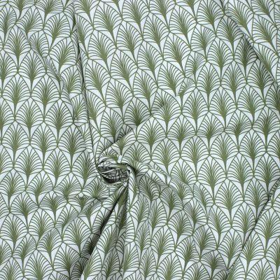 Tissu en coton à motifs olive sur fond blanc