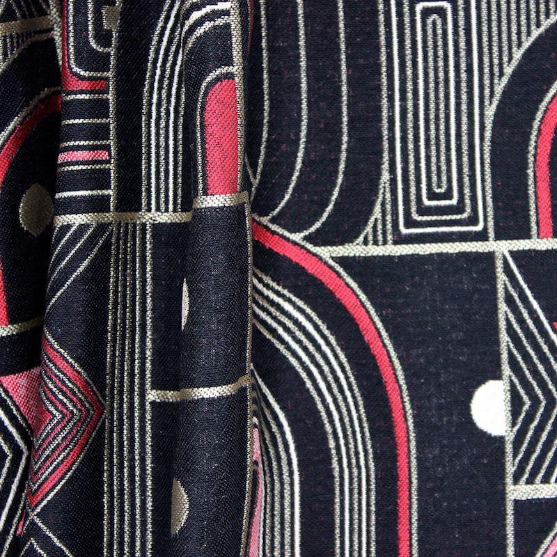 tissu d 39 ameublement jacquard motifs g om triques noir et. Black Bedroom Furniture Sets. Home Design Ideas
