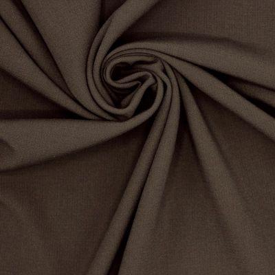 Tissu polyester fluide, lourd et stretch brun