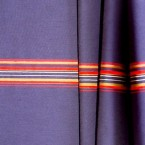 Tissu en polyamide à lignes rouge et beige sur fond bleu