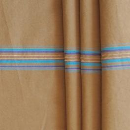 Beige polyamide stof met blauwe strepen
