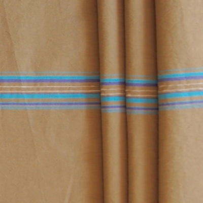 Polyamide fabric with blue lines on beige background