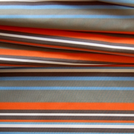 Blauw, oranje en beige gestreepte polyamide stof