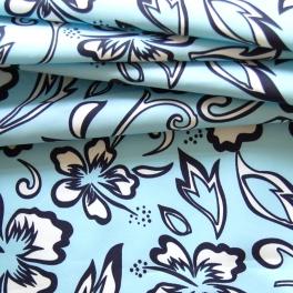 Polyamide stof met witte bloemen op blauwe achtergrond