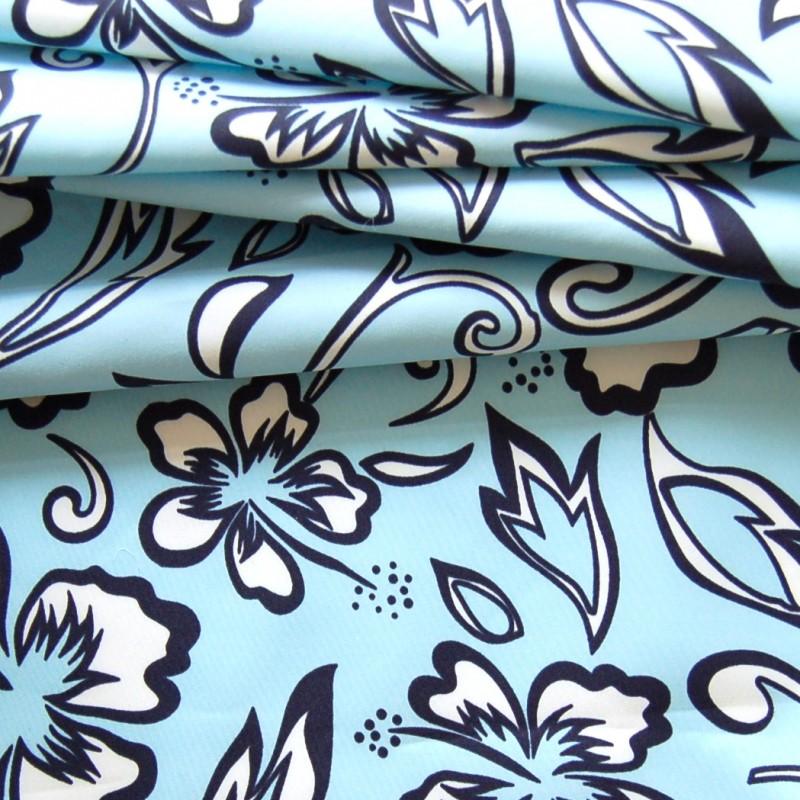 tissu en polyamide fleurs bleues et blanches sur fond bleu. Black Bedroom Furniture Sets. Home Design Ideas