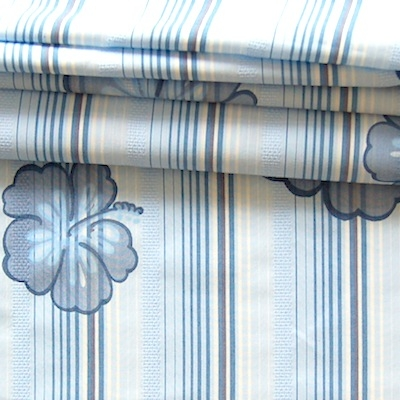 Polyamide fabric with blue and white lines with blue flowers