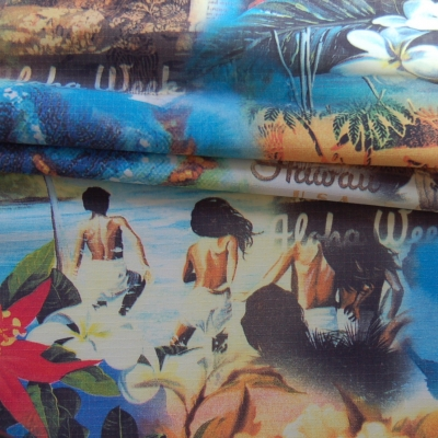 Polyamide fabric with Hawaii design, perfect to make clothes