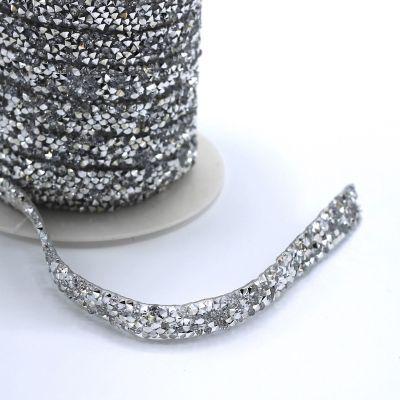 Galon thermocollant à perles argent