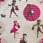 Tissu en coton à motif shopping rose sur fond beige