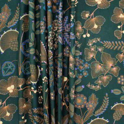 Tissu imprimé floral sur fond vert