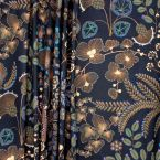 Fabric with floral print - black background