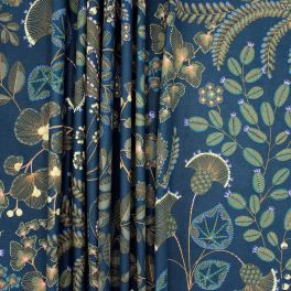 Fabric with floral print - navy blue background