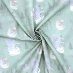 Tissu en coton vert imprimé Reine des neiges