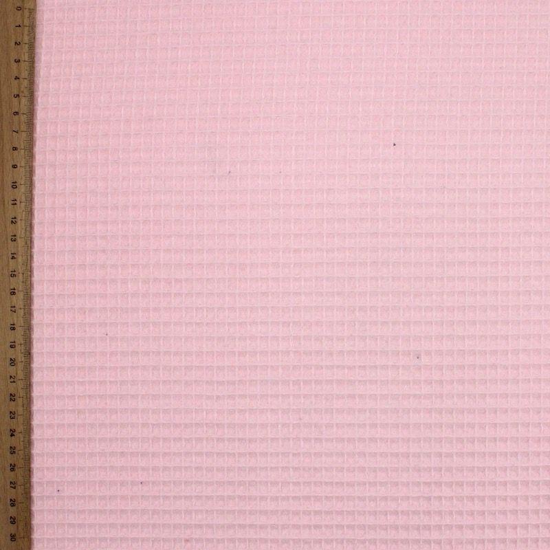 Piqué de coton gaufré nid d'abeille rose blush