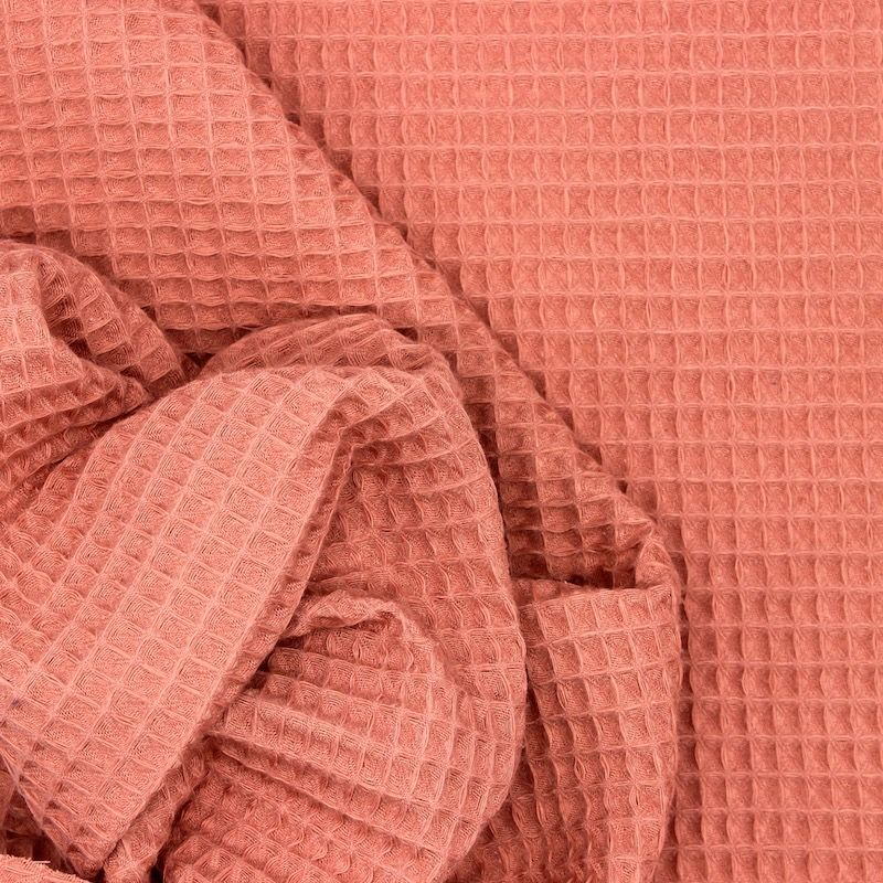 Piqué de coton gaufré nid d'abeille marsala