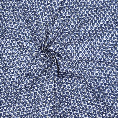 Cotton with navy blue scale print