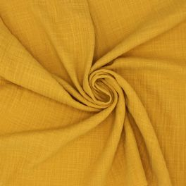 Tissu double gaze effet lin moutarde
