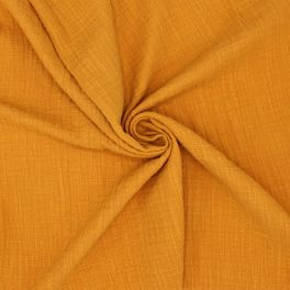 Double cotton gauze with linen effect - ochre