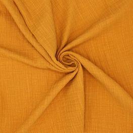 Tissu double gaze effet lin ocre