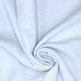 Tissu double gaze effet lin blanc