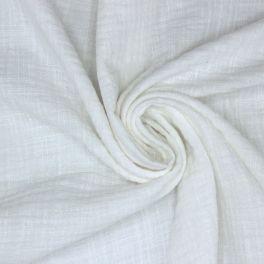 Tissu double gaze effet lin blanc cassé