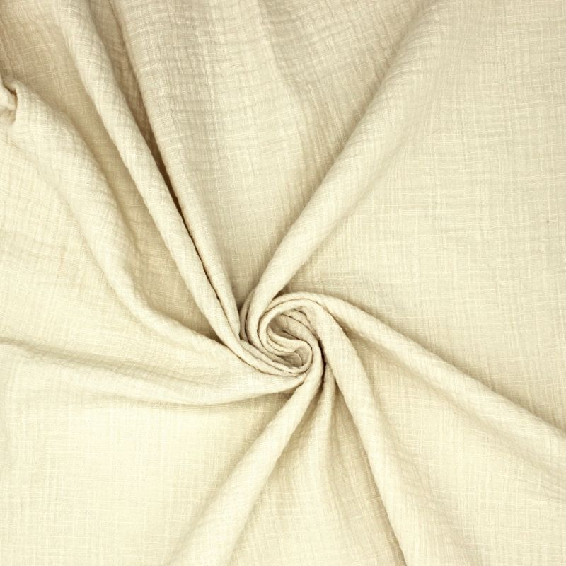 Tissu double gaze effet lin écru