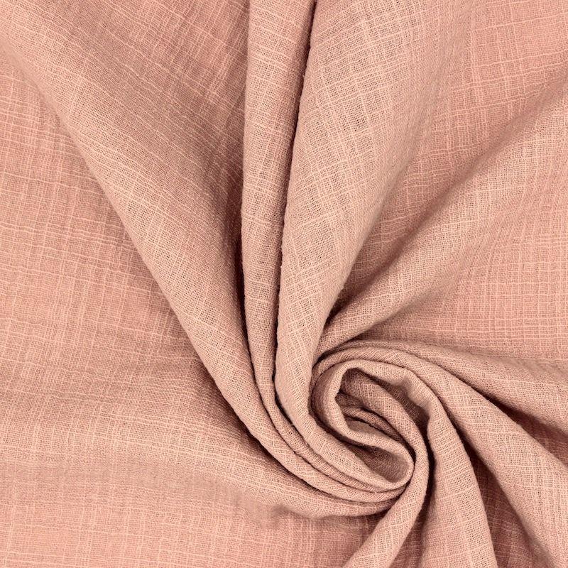 Tissu double gaze effet lin rose poudré