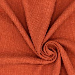Tissu double gaze effet lin brique