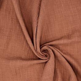 Tissu double gaze effet lin marsala