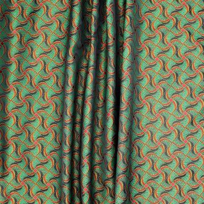 Tissu d'ameublement à motifs vert,rouge et orange