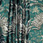 Meubelstof met palmboommotief - Smaragdgroen achtergrond