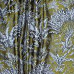 Tissu d'ameublement  à motif palmier sur fond gold