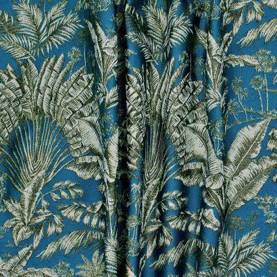 Tissu d'ameublement  à motif palmier sur fond canard