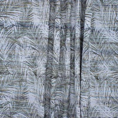 Tissu en coton à feuilles rouge, brun et vert sur fond blanc