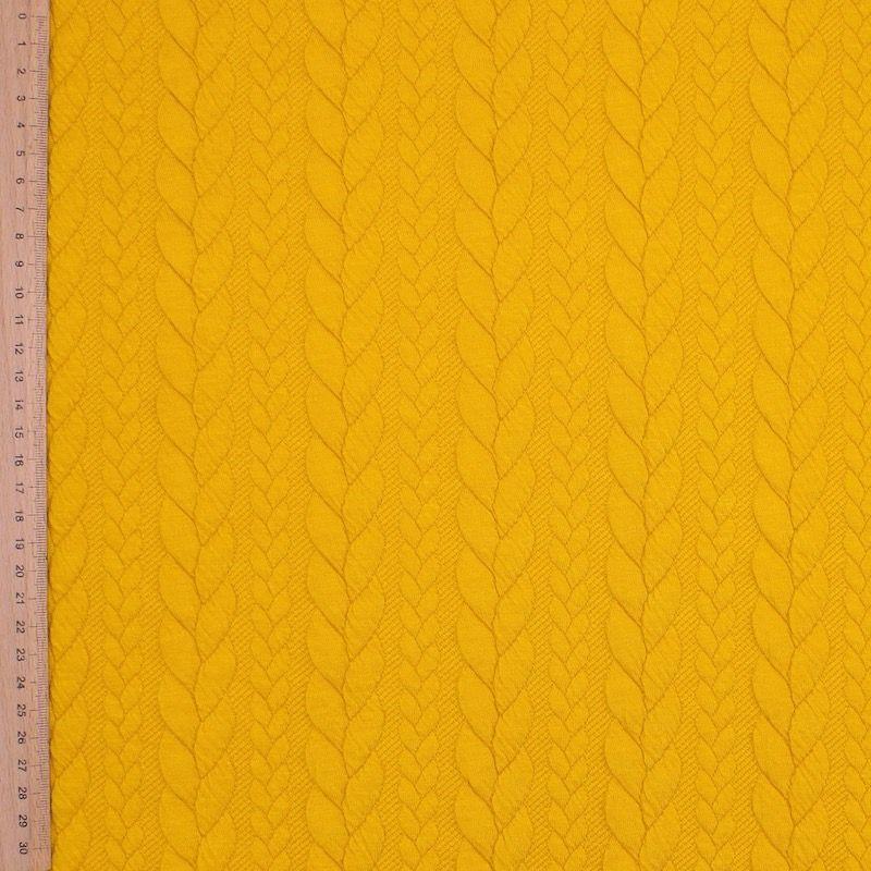 Eucalyptusgroene sweatshirtstof met gevlochten motief, achterzijde in fleece