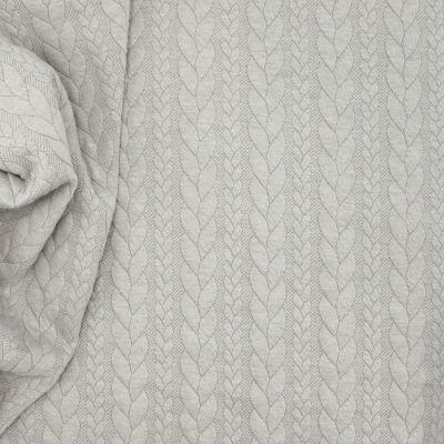 Tissu jersey matelassé à motif torsade gris poudré