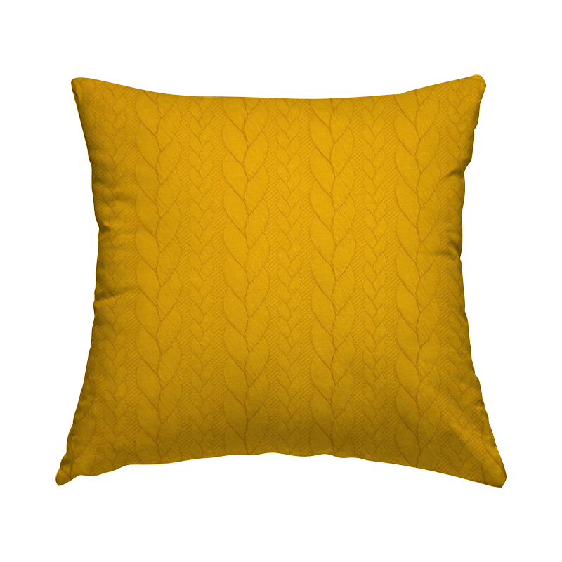 Tissu jersey matelassé à motif torsade moutarde