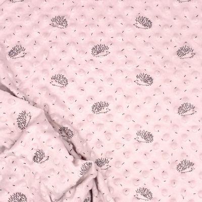 Tissu en minkee à pois rose poudré  imprimé hérisson