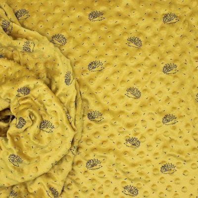 Tissu en minkee à pois moutarde  imprimé hérisson