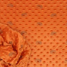 Tissu en minkee à pois orange brûlée imprimé hérisson