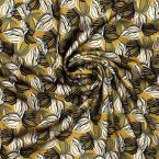 Satin polyester léger imprimé floral moutarde